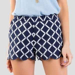 Navy Blue & White scalloped shorts with pockets